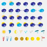 Flat Weather icon set on a white background. Cute, compact flat weather icon set on a white background Royalty Free Stock Photography