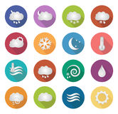 Flat weather icons with long shadow. Royalty Free Stock Photo