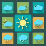 Flat Weather icons and set. Long Shadows. Seasons Stock Photos