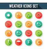 Flat weather icons set. Royalty Free Stock Image