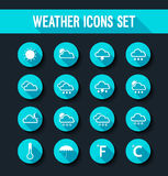 Flat weather icons set. Stock Images