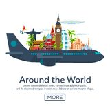 Flat  web banners on the theme of travel by airplane, vacation, adventure. Flight in the stratosphere. Around the World. Stock Images