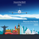 Flat  web banners on the theme of travel by airplane, vacation, adventure. Flight in the stratosphere. Around the World. Royalty Free Stock Image