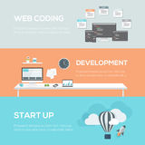 Flat web design concepts. Web coding, development and startup. royalty free illustration