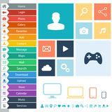 Flat Web Design elements, buttons, icons for interface, websites, apps. Royalty Free Stock Photography