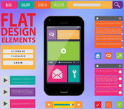 Flat Web Design, elements, buttons, icons Royalty Free Stock Photography