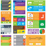 Flat Web Design elements. Templates for website Stock Photography