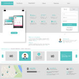 Flat web design elements, Website template.Vector Eps 10 Royalty Free Stock Photography