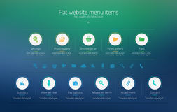 Flat web design menu template with solid colors Royalty Free Stock Images