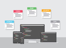 Flat web development design  Royalty Free Stock Images
