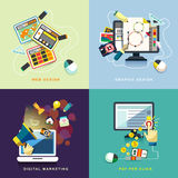 Flat web and graphic design, marketing, pay per click Royalty Free Stock Photography