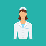 Flat web icon. Female doctor, nurse. Isolated vector character. Royalty Free Stock Images