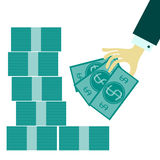 Flat web icon. Paper money Stock Image