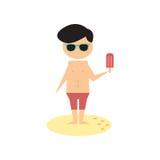 Flat web icon on white background man ice cream Stock Photography