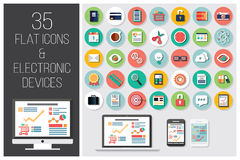 35 flat web icons and 4 electronic devices Royalty Free Stock Images
