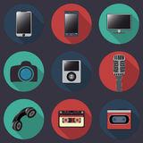 Flat web icons of technics collection with long shadows Stock Image