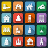 Buildings web icons vector set Royalty Free Stock Photos