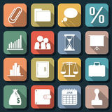 Flat web icons vector set 6. A set of flat business and finance icons Royalty Free Stock Photos