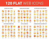 Flat Web Icons. Vector set of 120 flat web icons on following themes - business and finance, design and development, network and cloud computing, SEO and web Vector Illustration