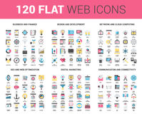 Flat Web Icons. Vector set of 120 flat web icons on following themes - business and finance, design and development, network and cloud computing, SEO and web Royalty Free Illustration