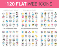 Flat Web Icons. Vector set of 120 flat web icons on following themes - online education, social media and network, corporate business, web design and development stock illustration