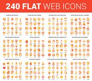 Flat Web Icons. Vector set of 240 64X64 pixel perfect flat web icons. Fully editable and easy to use Stock Photography