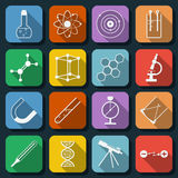 Science web icons vector set. A set of flat science vector icons Royalty Free Stock Images