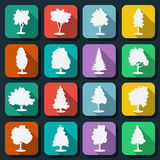 Trees web icons vector set Royalty Free Stock Images