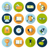 Flat web infographic online business concept icon set Royalty Free Stock Photos