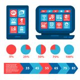 Flat web and infographics elements. Flat Web Infografic Interface Elements Stock Photography