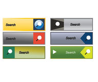 Flat Web search buttons, icons. Templates for website. Stock Image