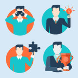 Flat web style modern infographics businessmen with objects set Stock Images