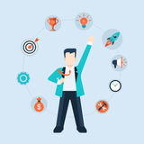 Flat web style modern infographics teamwork project management Stock Photography