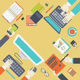 Flat web style modern infographics teamwork project management Stock Photo