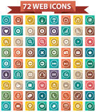 72 Flat Website Icons,Colorful version Royalty Free Stock Photos
