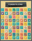 72 Flat Website Icons,Colorful version Stock Photos