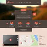 Flat Website Template with Blurred Autumn Background Royalty Free Stock Photos