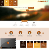 Flat Website Template with Blurred Autumn Background Royalty Free Stock Images