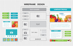Flat website wireframe template Stock Images