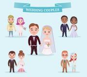 Flat Wedding Couples Romantic Set Royalty Free Stock Photos