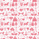Flat Wedding Design elements in seamless pattern Royalty Free Stock Photos