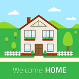 Flat Welcome home illustration Stock Photos