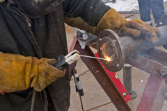 Flat welding flange to the pipe steel Royalty Free Stock Photo