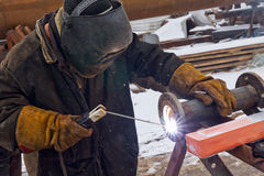 Flat welding flange to the pipe steel Stock Photography