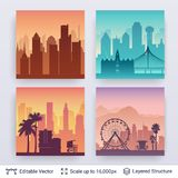 Collection of famous city scapes. royalty free illustration