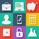 Flat white business and education icons set Stock Photography