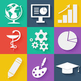 Flat white business and education icons set Stock Photo