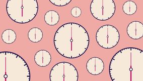 Flat white clocks different size with moving arrows on light pink background. royalty free illustration