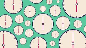 Flat white clocks different size with moving arrows on turquoise background. vector illustration