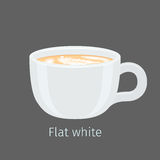 Flat White Coffee with Latte Art on Foam Vector Royalty Free Stock Photo